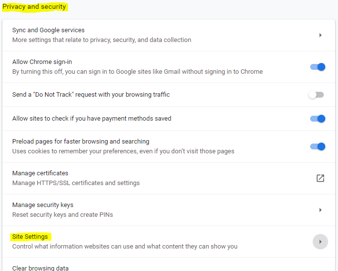 Image of Chrome Privacy and Security settings