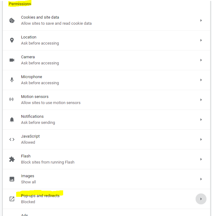 Image of permissions section in Chrome settings