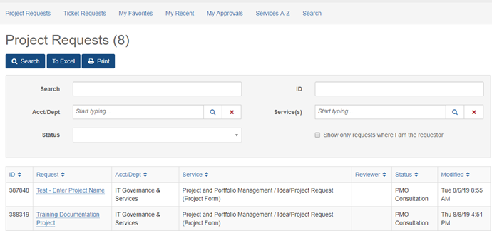 Image of Services - Project Requests list