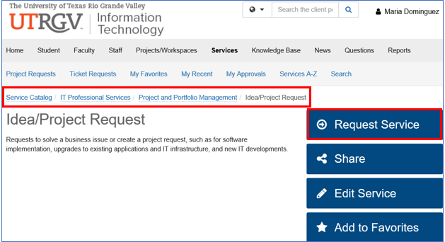 image of Request Service path and button