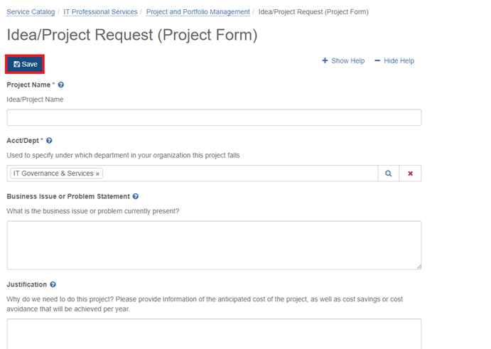 image of Save button on idea/project request form