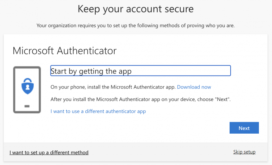 image of prompt to install the Microsoft Authenticator app