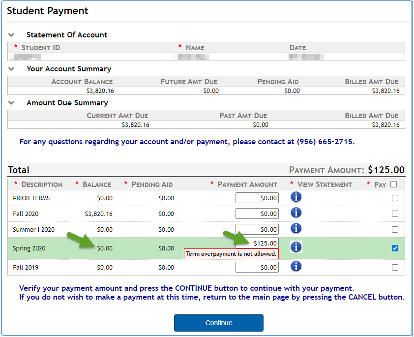 image of over-payment message
