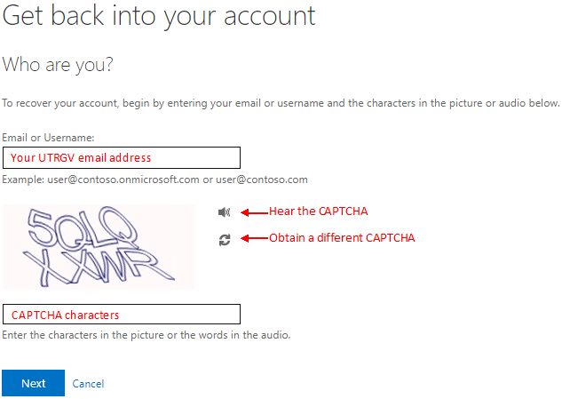 image of entering your email address and CAPTCHA characters