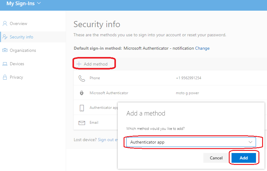 image of re-adding the Micrsoft Authenticator