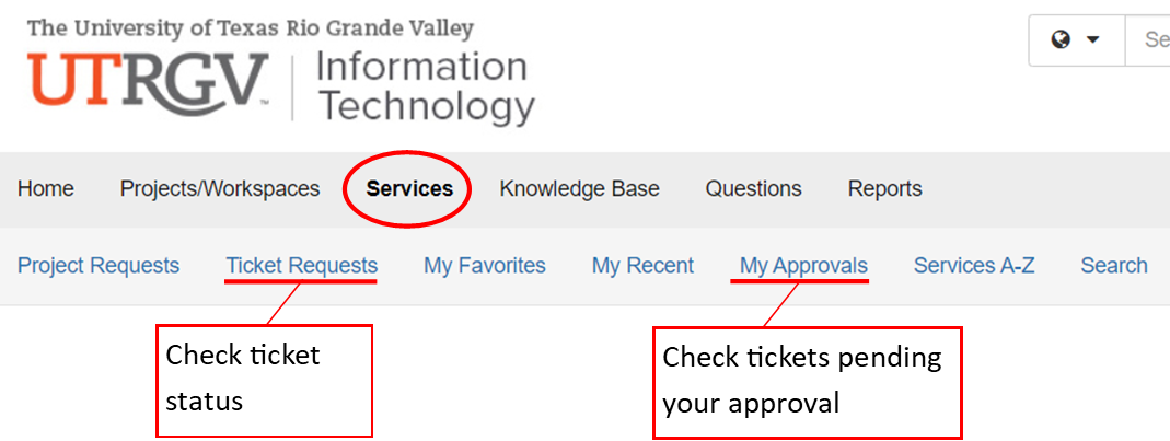 image of ticket status and pending approval navigation options