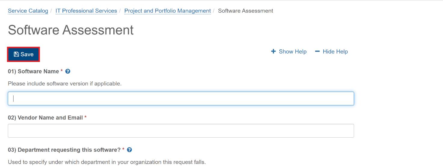 image of software assessment form