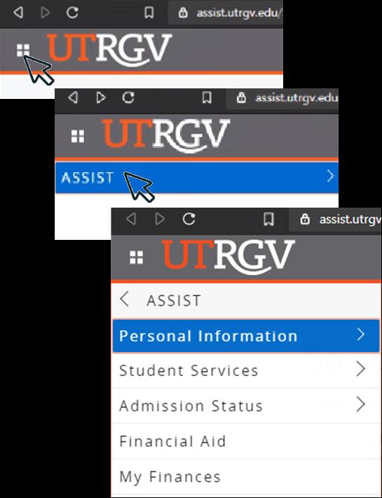 image of menu option at top left corner of ASSIST screen