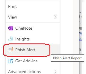 image of Phish Alert menu option