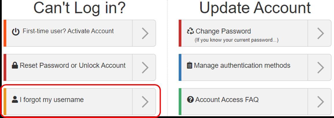 image of the I forgot my username option