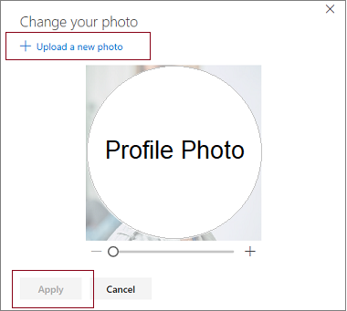 "Image of selecting option ""+ Upload a new photo"""