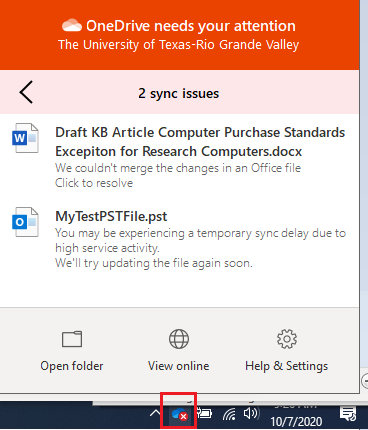 image of OneDrive notifications (available from the OneDrive icon in System tray, near the time at bottom right)