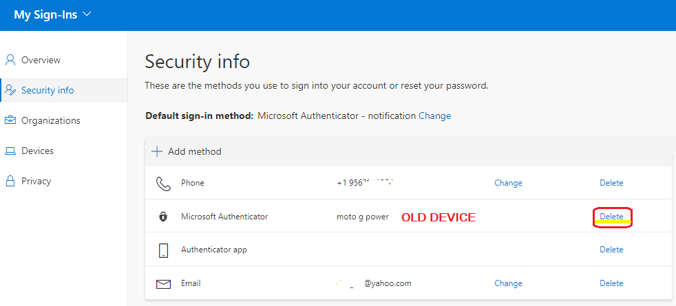 Image of Delete button to delete the existing Microsoft Authenticator authentication method