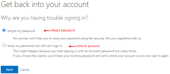 image of account recovery options - I forgot my password, or I know my password, but still can't sign in (unlock)