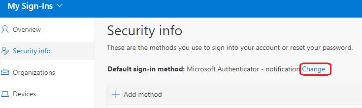 Image of option to change default authentication method