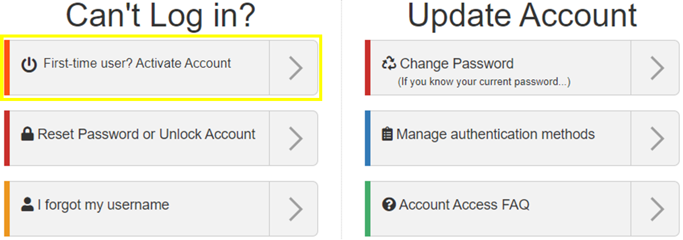 Image of Activate Account Option