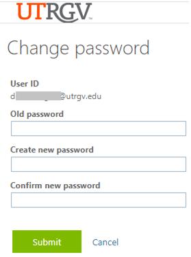 image of change password interface