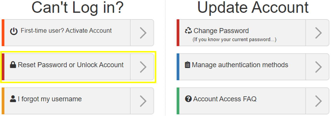 image of the Reset Password or Unlock Account option