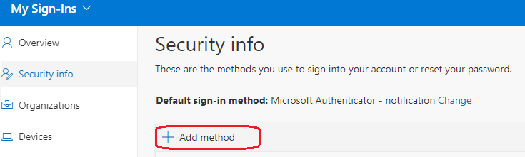 image showing option to add additional authentication methods