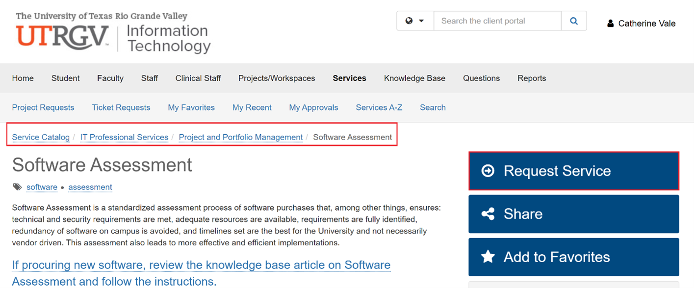 Image of browsing path to the Software Assessment knowledge article