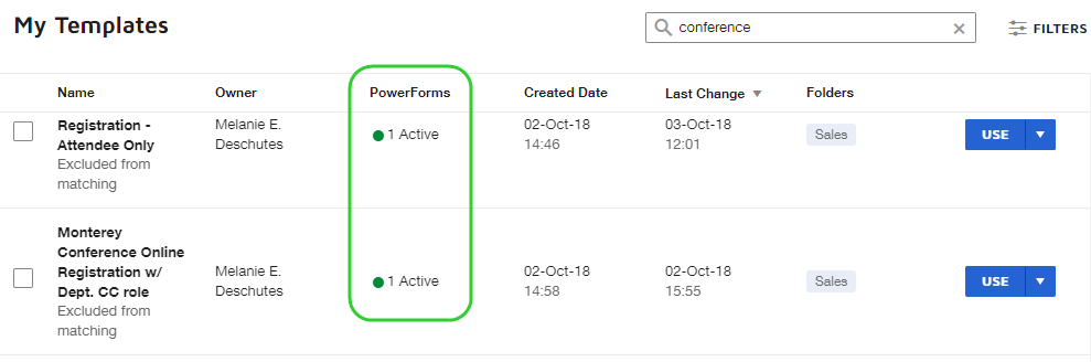 image of templates under the My Templates list that have an active PowerForm