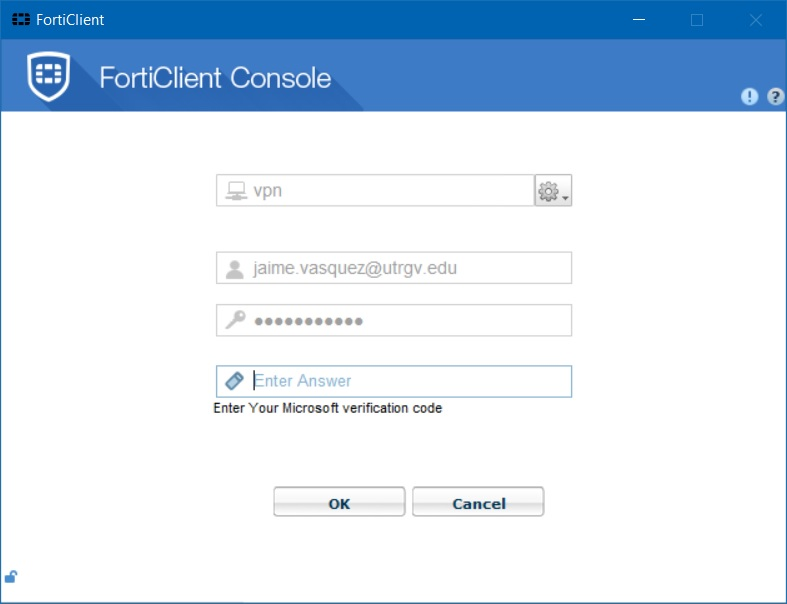 forticlient code window