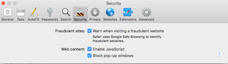 image of security tab setting