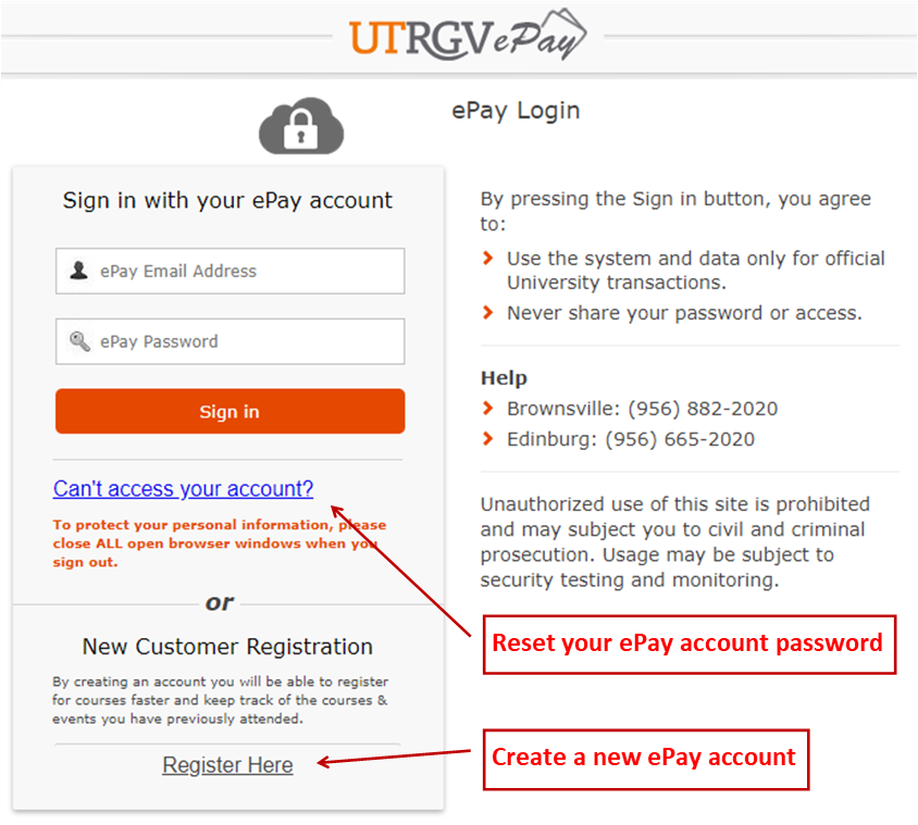 image of ePay login screen with prompts to Register for a new account or reset password