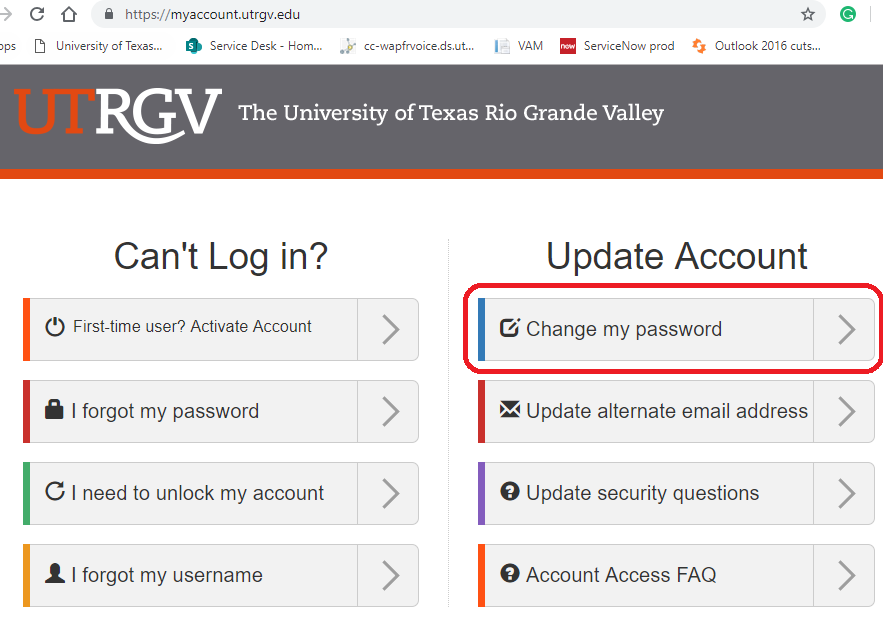 image of Change my password option