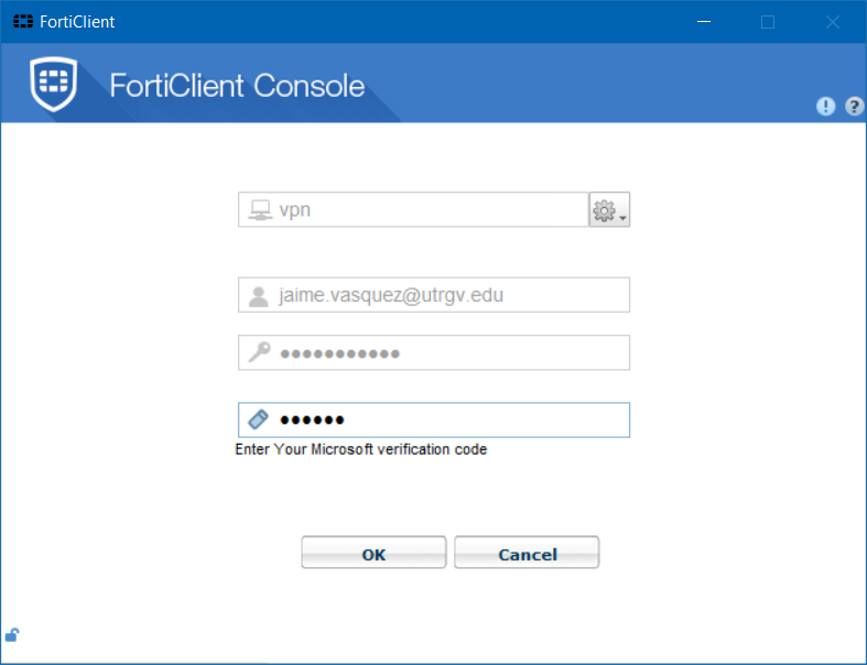 forticlient entering code window