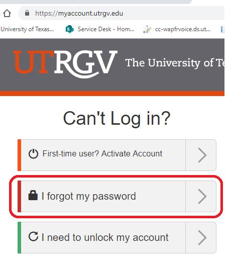 image of I forgot my password option