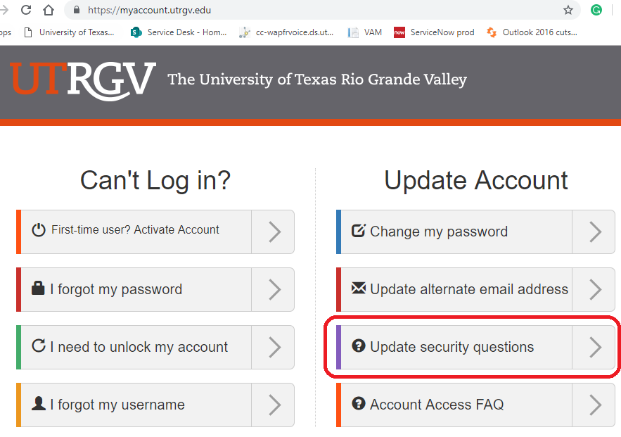 image of the Update security questions option