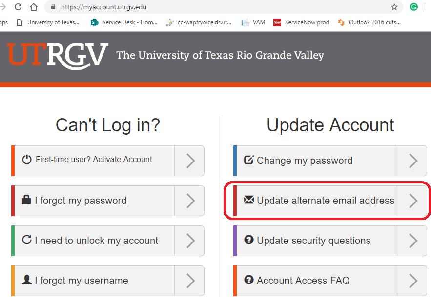 image of Update alternate email address option