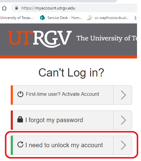 Image of I need to unlock my account option