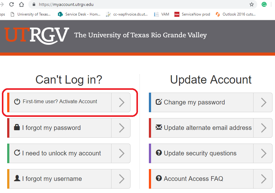 Image of the Activate Account option